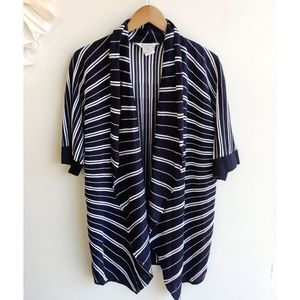 Exclusively Misook Blue White Striped Cardigan